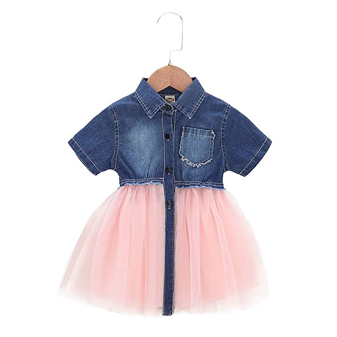 e20845c87 Toddler Infant Baby Girl Dress Denim Jeans Top Pink Tulle Tutu Dress Skirt  Outfits (A