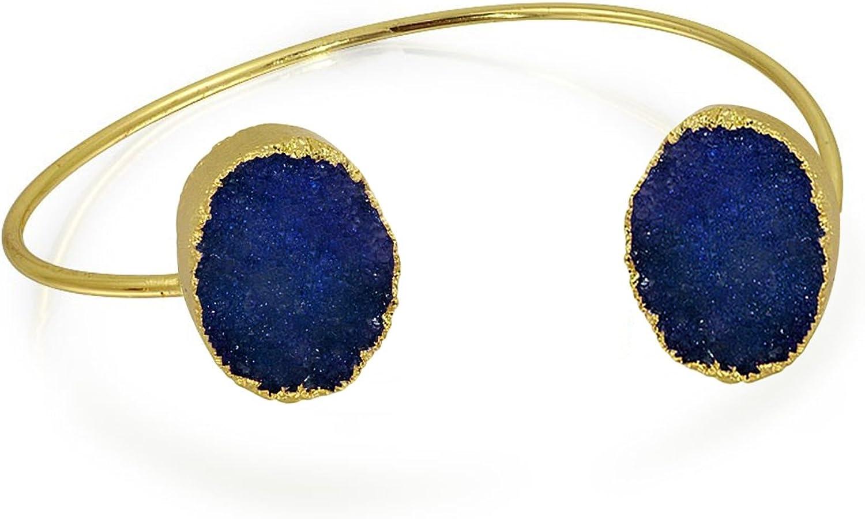 Bling Jewelry Boho Fashion - Brazalete orgánico para Mujer, Color Azul, Blanco y Verde, Chapado en Oro de 14 Quilates