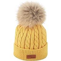 QUICKLYLY Gorro Bebé de Lana Tejido Invierno Grueso Sombrero para Niños Y Niñas Bufanda Conjunto Slouchy Warm Snow Knit Cap