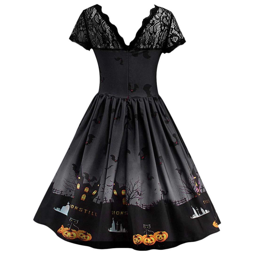 fec52b524b Amazon.com  Women Halloween Pumpkin Vintage Lace Dress Loose Short Sleeve  Print Gowns  Clothing