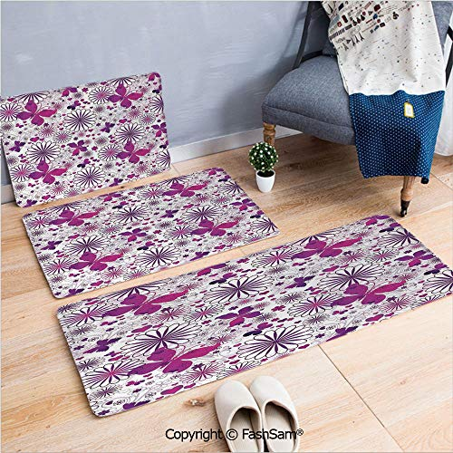 FashSam 3 Piece Flannel Bath Carpet Non Slip Floral Patterns Life Cycle Caterpillar Larvae Winged Camouflage Characters Front Door Mats Rugs for Home(W15.7xL23.6 by W19.6xL31.5 by -