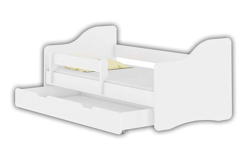 Weiß 180x80 cm + Schublade Jugendbett Kinderbett mit einer Schublade mit Rausfallschutz und Matratze Weiß ACMA HAPPY 140x70 160x80 180x80 (Weiß, 180x80 cm + Schublade)