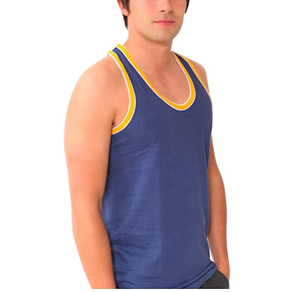 aabe62c02ef33 Britwear 6 x Mens Coloured 100% Cotton Fitted Ultra Rib Muscle Gym Top Vest  Singlets  Amazon.co.uk  Clothing