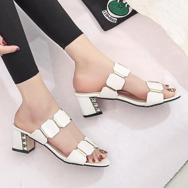 Longra Artificiale in Pelle Moda Donna Solido Colore Peep Toe Antiscivolo Piazza Tacco Sandali Scarpe estive (Size:37, Bianco)