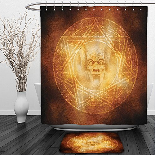 Vipsung Shower Curtain And Ground MatHorror House Decor Demon Trap Symbol Logo Ceremony Creepy Ritual Fantasy Paranormal Design OrangeShower Curtain Set with Bath Mats Rugs by vipsung