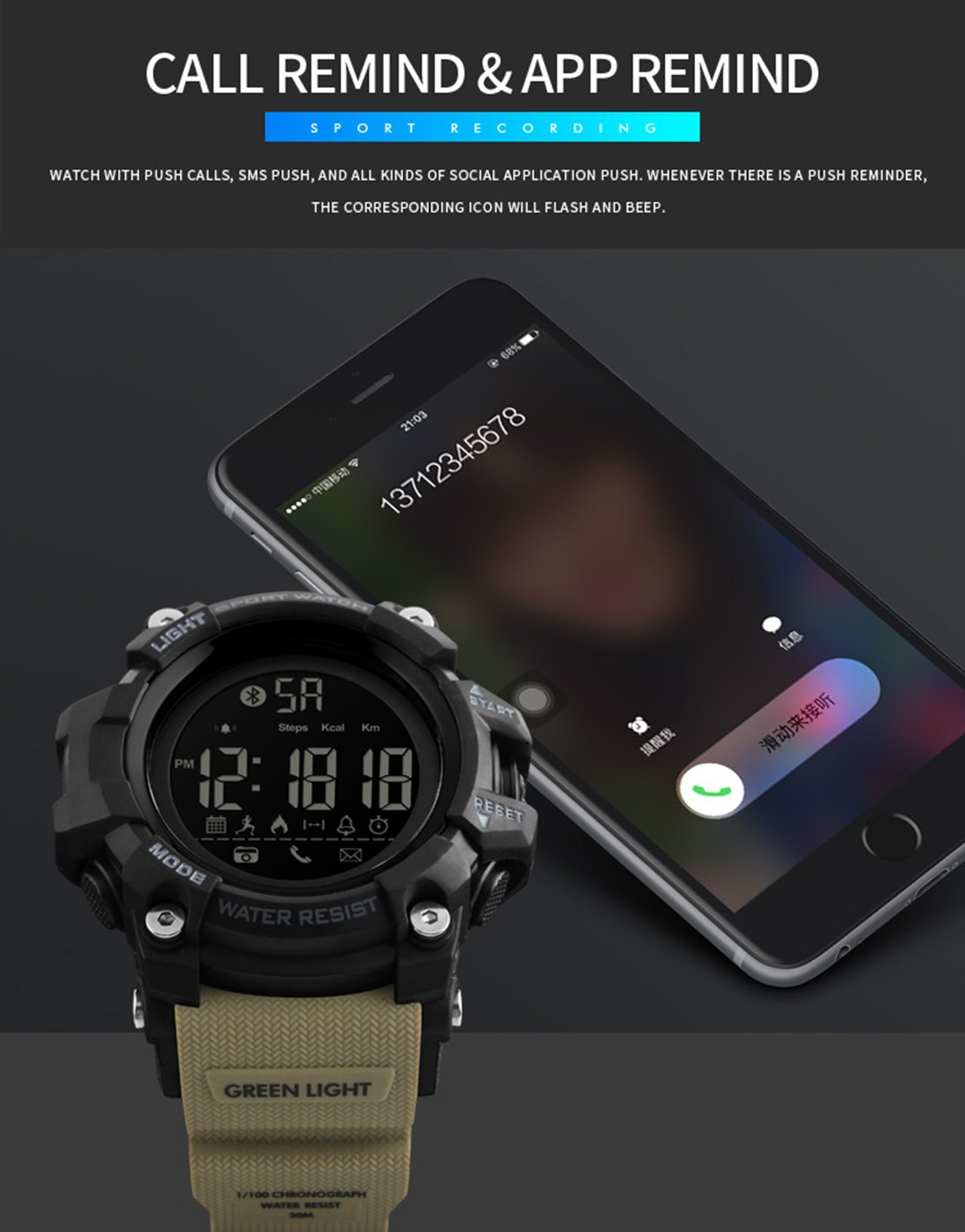 JQXB Bluetooth Smart Hombres Reloj Andriod iOS Compatible ...