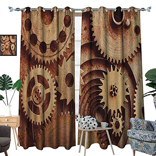 Warm Family Industrial Thermal Insulating Blackout Curtain Inside The Clocks Theme Gears Mechanical Copper Device in Steampunk Style Print Patterned Drape for Glass Door W108 x L84 Cinnamon