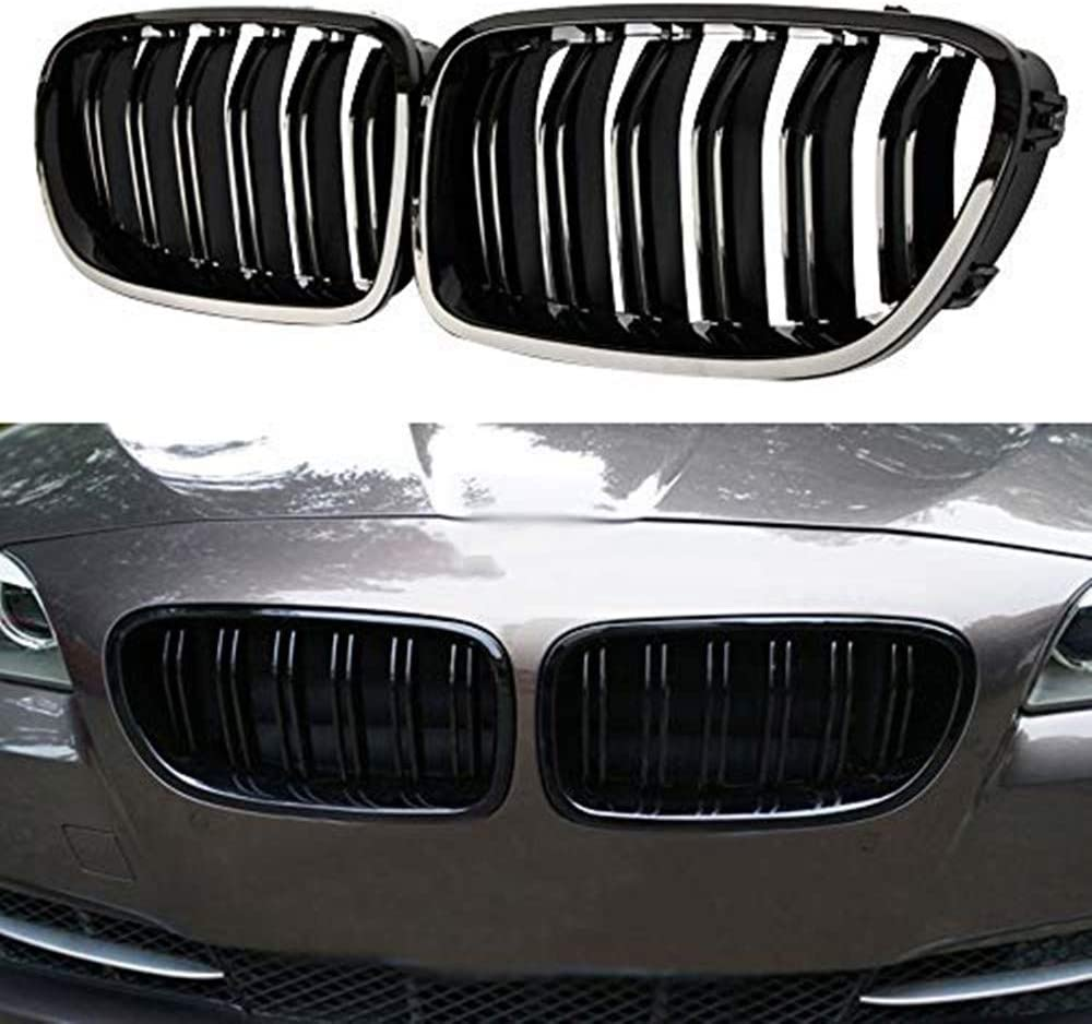 for BMW F10 F18 5-Series 528i 530i 535i 550i perfk Front Kidney Grille Hood Grills Gloss Black
