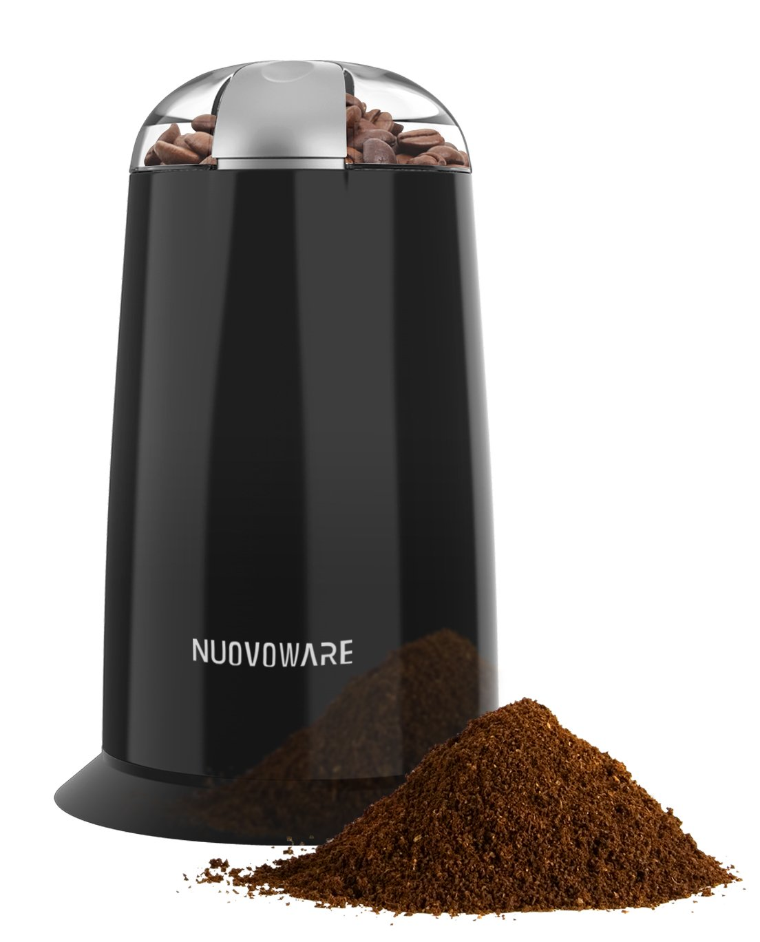 Nuovoware Coffee Grinder, Automatic Premium Electric Spice & Coffee Grinder with Stainless Steel Blades and Transparent Lid, Black by Nuovoware