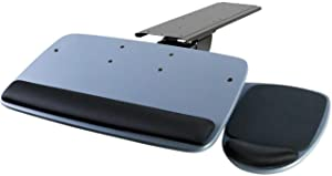 "Mount-It! Under Desk Keyboard Tray, Adjustable Keyboard and Mouse Drawer Platform with Ergonomic Wrist Rest Pad, 17.25"" Track (MI-7137)"
