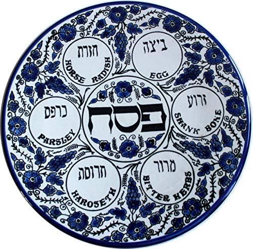 Blue Flowers - Passover SEDER Plate - Jewish Dish Armenian Ceramic Hebrew Israel Judaica Gift