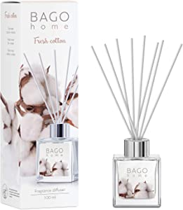 BAGO home Fragrance Oil Reed Diffuser Set - Fresh Cotton | Cotton, Lily & Amber Notes | 100 ml 3.4 oz