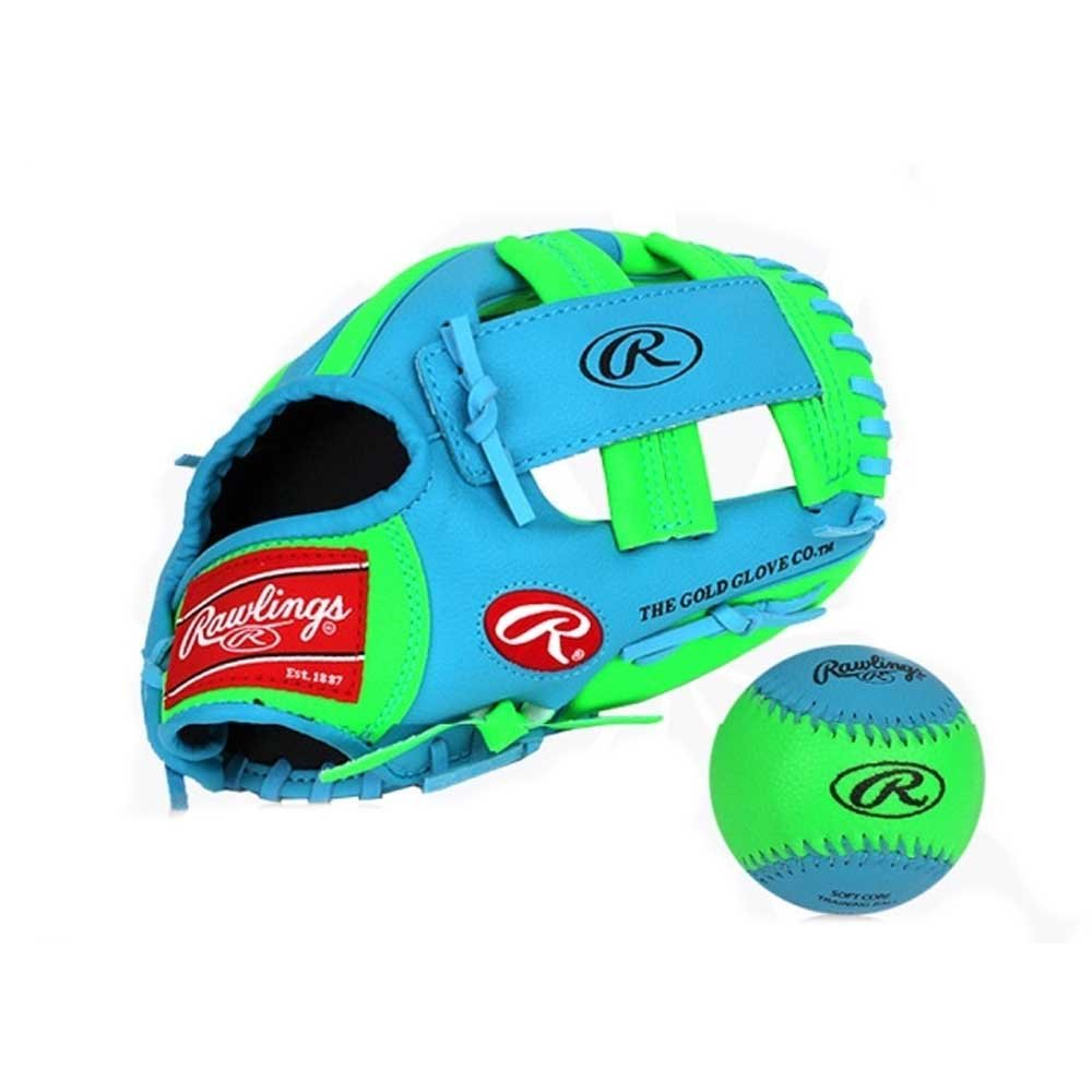 D&Y Rawlings Baseball Gloves & Mitts for Kids (Blue+Green, 11 inch) by D&Y