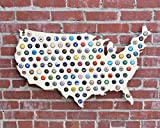 Giant USA Beer Cap Map - 3ft Wide - Craft Beer Cap Holder (Natural Wood) (Natural Wood)