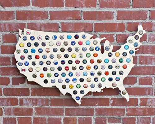 (Giant USA Beer Cap Map - 3ft Wide - Craft Beer Cap Holder (Natural Wood) (Natural Wood))