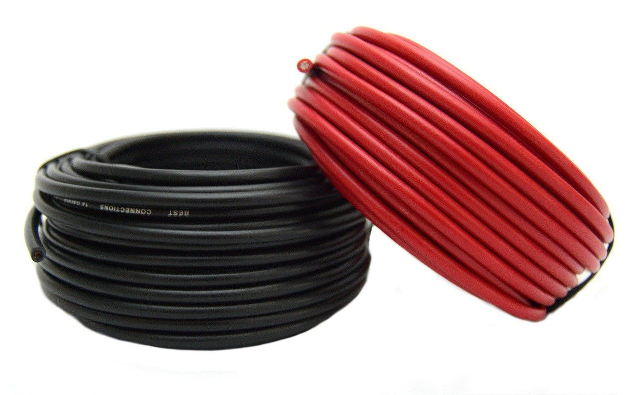14 Gauge Red & Black Power Ground Wire 25 FT Each 50' Total Stranded Copper Clad