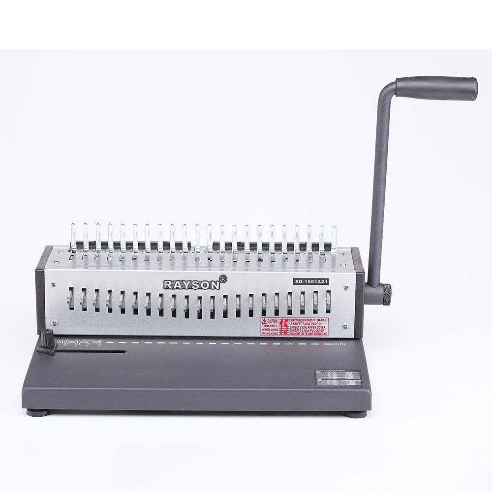 Rayson SD-1501A21 Binding Machine Paper Punch Binder with Starter Combs Set - 21 Hole / 200 Sheets