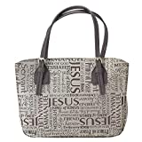 Brown Purse 8 x 11 inch Fashion Jacquard Fabric Bible Cover Case with Handle