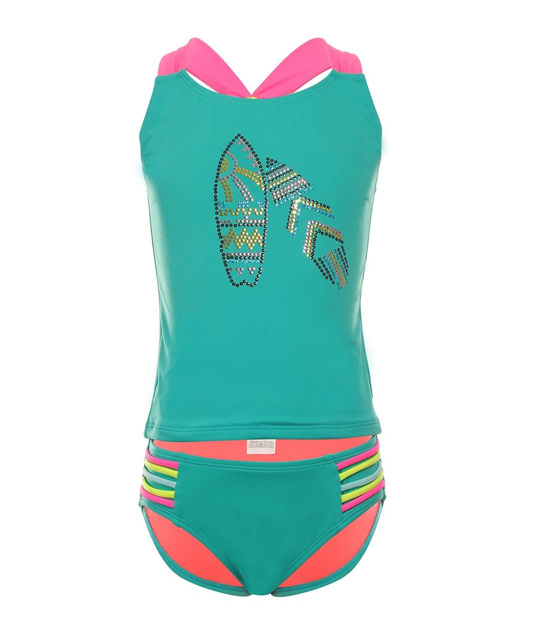 BELLOO Kids Big Girls Two Pieces Swimsuits, Tankini Sets Bathing Suit Swimwear XS Green