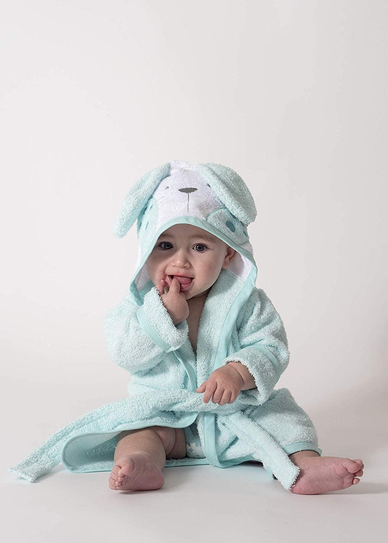 Ti TIN Accappatoio con Cappuccio Per Bambini 100/% Cotone Morbido e Assorbente con Orecchie Di Coniglietto Turchese Taglia 1 o 2 Anni