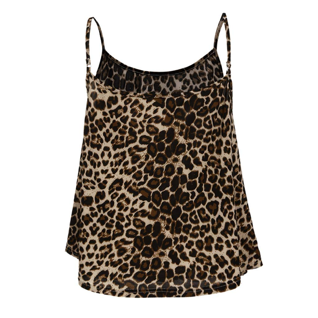 Tantisy ♣↭♣ Camisole Tank Top ✿ Fashion Womens Sling Tank Leopard Printed Sleeveless O-Neck Blouse Soft Comfortable Top Brown by Tantisy ♣↭♣ (Image #3)
