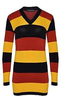 Lee Cooper Essential Stripe V Neck Knit Jumper Ladies Pullover Full Length