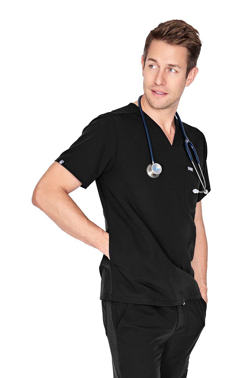 FIGS Medical Scrubs Men's Chisec Three Pocket Top (Black, XS) by FIGS (Image #5)