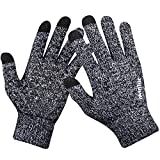 anqier Winter Knitted Gloves, Windproof Touchscreen Warm Hand Knit Gloves for Men Women