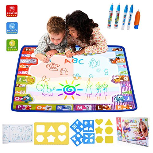 Hualedi [Large size] Aqua Magic Mat, Drawing mat doodle mat,Water drawing mat for kids,doodle mats in 6 Colors [More tool] with 4 Magic Pens and 1 Brush[30X30 (Drawing Mats)