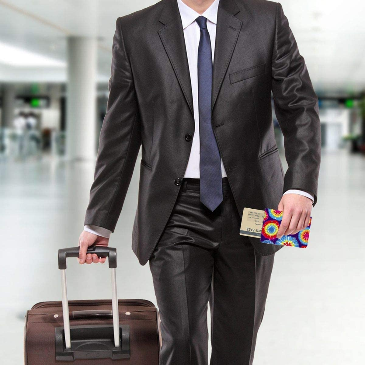 Tie Dye Species Fashion Leather Passport Holder Cover Case Travel Wallet 6.5 In