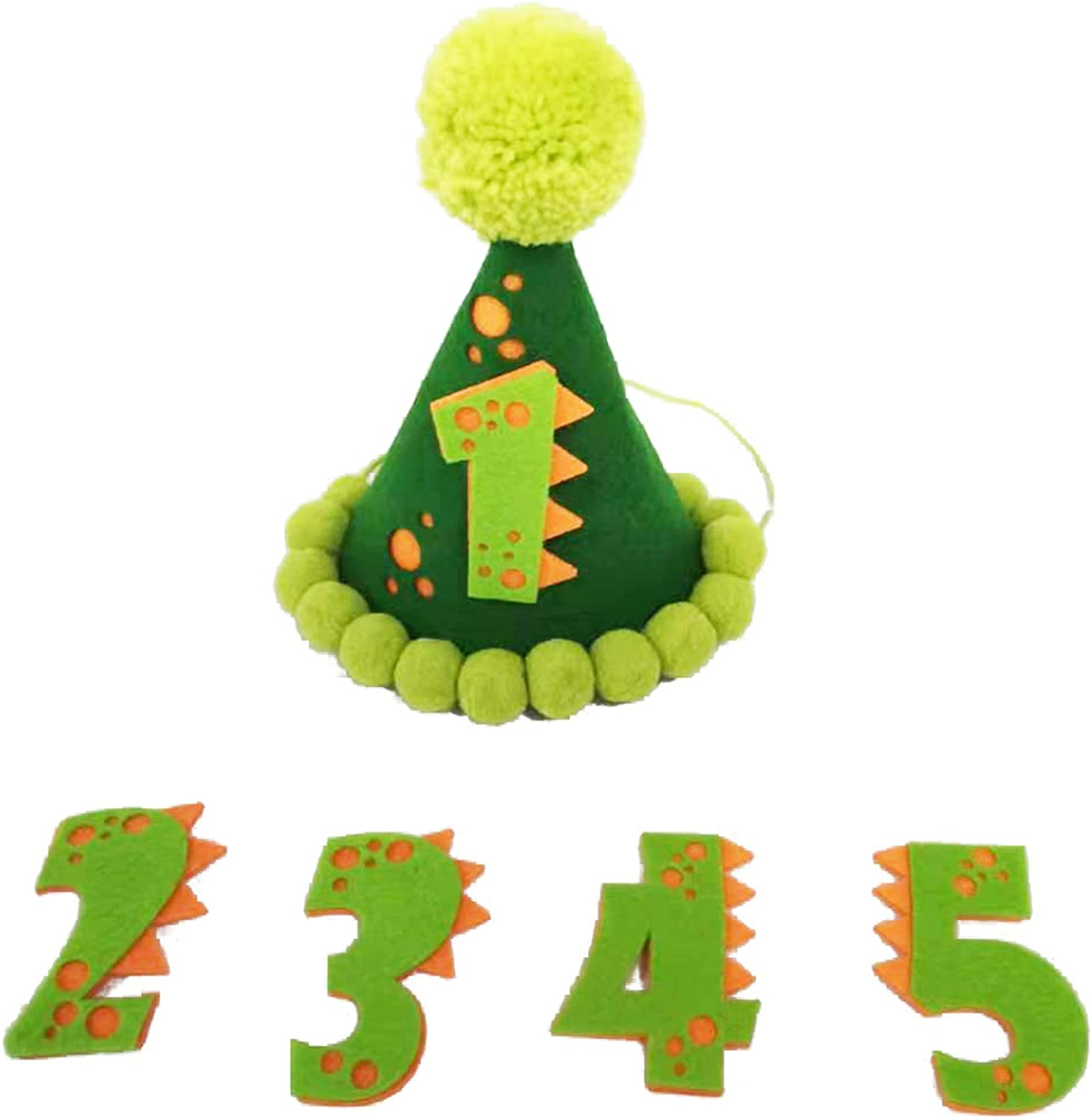 1st Birthday Party Hat,First Birthday Green Dinosaur Crown Cone Hat for Party Theme Supplies