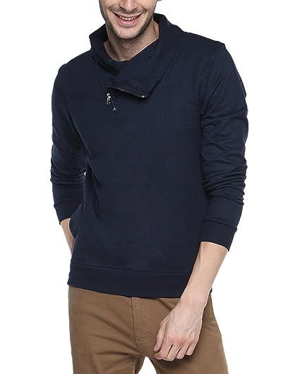 Campus Sutra Navy Blue Mens cotton Shawl Neck Sweatshirt Men's Sweatshirts & Hoodies at amazon