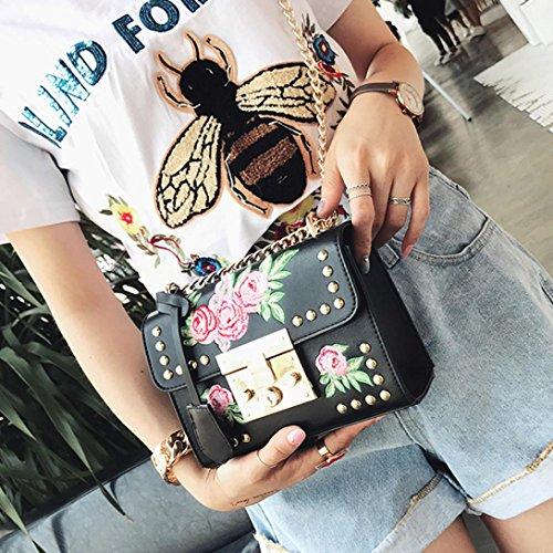 Moda Tracolla Messenger Catena Borsa Donna Nero Borsa Rosa Bag VICGREY Chain Tracolla Borsa Ricamo A Obliqua dwpCqEBz