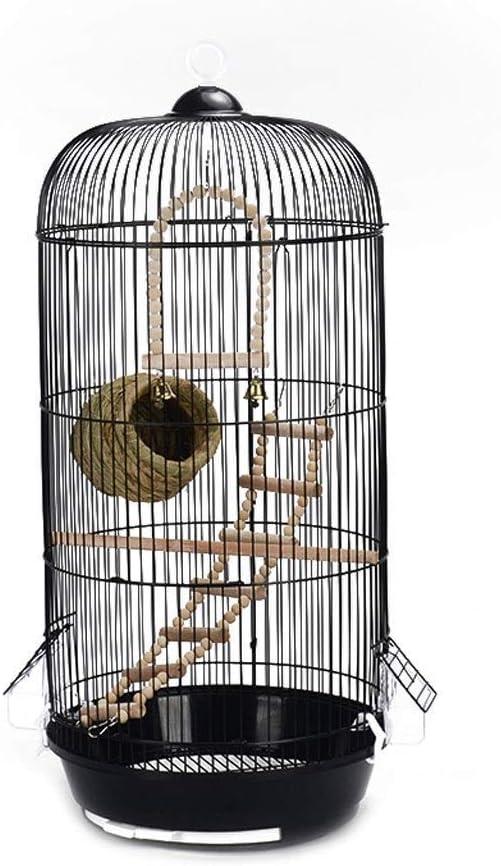 HIZLJJ Mascotas Black Arched Top Companion Jaula de pájaros Retro Round Metal Peony Parrot Tiger Skin Villa Jaula de pájaros