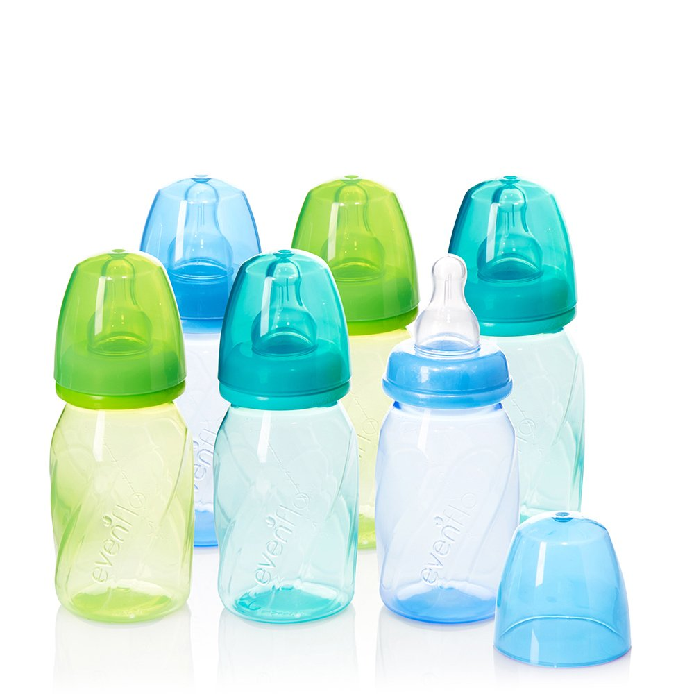 Evenflo Feeding Premium Proflo Vented Plus Polypropylene Baby, Newborn and Infant Bottles - Helps Reduce Colic - Teal/Green/Blue, 4 Ounce (Pack of 6) by Evenflo Feeding