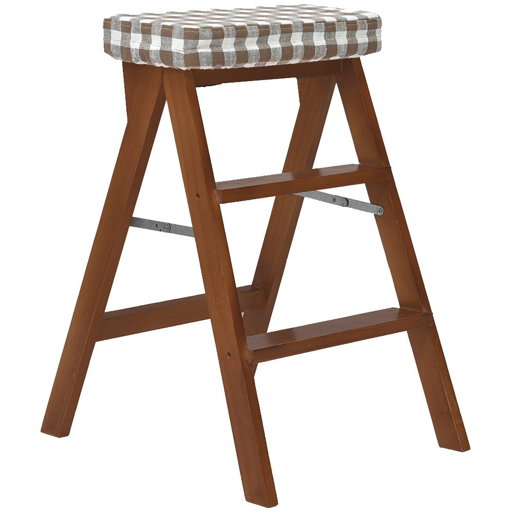 K Nevy- Foldable Step Ladder Stool Multifunction Portable Dual-use 3 Steps Non-Slip Silent Pads Chair Beech 11 colors Height 65cm (color   E)