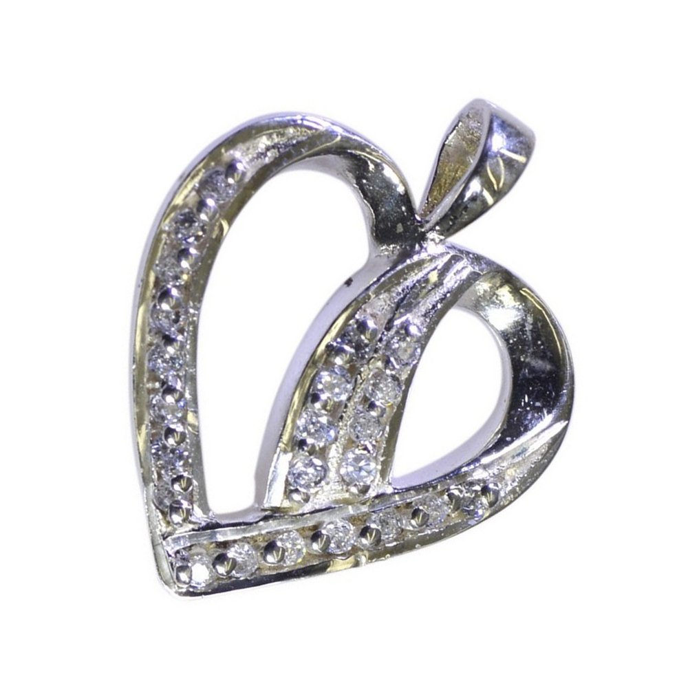 Gemsonclick Multi CZ Sterling Silver Pendant For Women Charms Jewelry Handmade Necklace Heart Round Shape