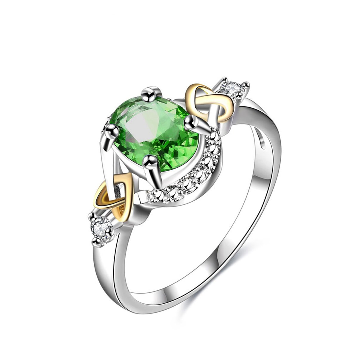 Womens Jewelry Circular Bead Cross Heart Green Gemstone White Cubic zirconia Diamond Three Tone Silver Plate Gold Plate Wedding Ring Winter.Z