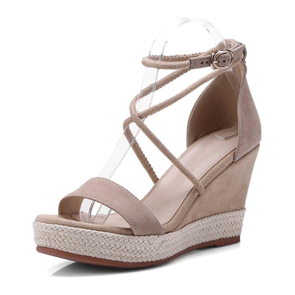 Sandali con zeppa estiva Open Toe Tacco elastico Tacco alto scarpe eleganti piattaforma donna ( Colore : Beige , dimensioni : 38 )  Beige