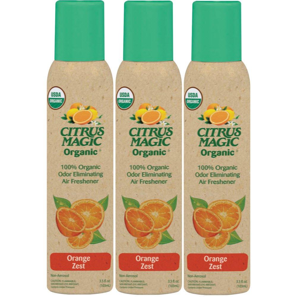 Citrus Magic Organic Odor Eliminating Air Freshener Spray, Pack of 3, 3.0-Ounces Each