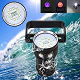 KXN 12000LM XM-L2 Professional Handheld Diving Flashlight UnderWater 100m Depth Camera Photography Video Light Torch Flashlight for Outdoor Under water Sports, Rechargeable 18650 Battery Included