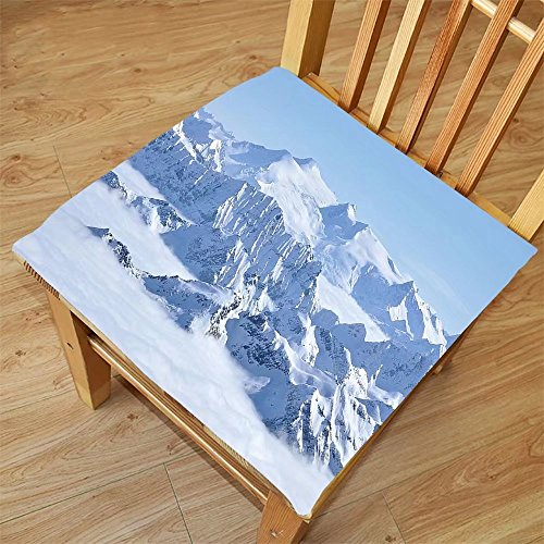 Nalahome Set of 2 Waterproof Cozy Seat Protector Cushion Farmhouse Decor Snowy Summit of Alps over Clouds Scene at Winter Wilderness in Nature White Blue Printing Size 18x18inch (Washer Summit Dryer)