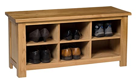 Waverly Oak Small Shoe Storage Bench In Light Oak Finish 8 Pairs | Solid  Wooden Organiser