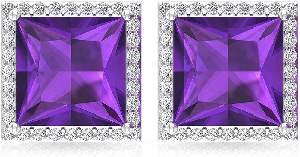 2,8 ct Solitario Amethsyt Pendiente, princesa corte de piedras preciosas pendientes de boda, IGI certificado declaración de diamantes, IJ-SI pendientes de novia, tornillo hacia atrás