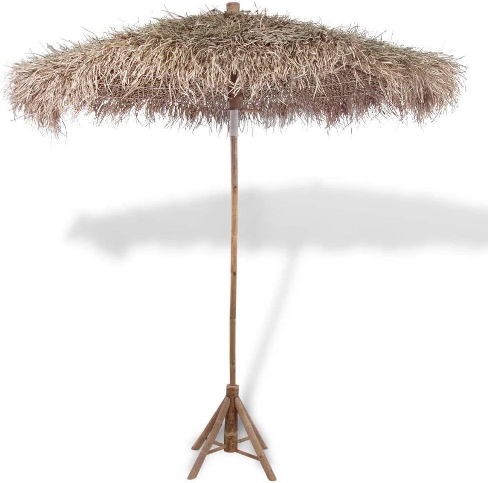 Wghz Sun Umbrella Bamboo Parasol Garden Parasols with Banana Leaf Roof 210 cm.