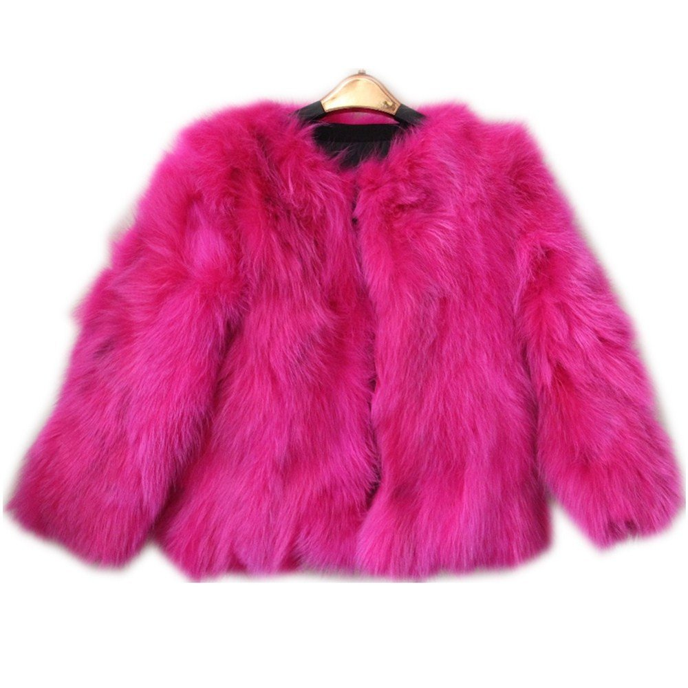 QMFUR New Girls 100% Real Sliver Fox Fur Coat Jacket (8-9 Years Old, Red)