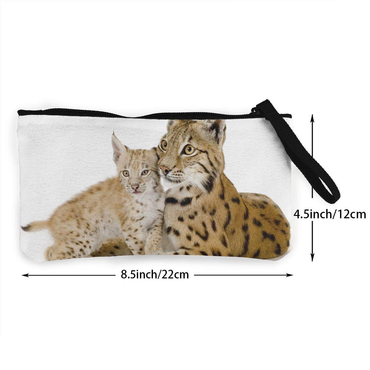 Novelty Lynx Mon and Son 3D Graphic Printing Multi-Functional Canvas Coin Purse