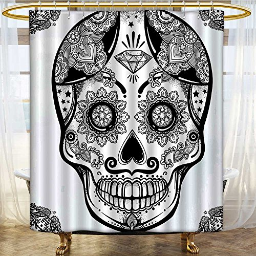 Mikihome Shower Curtain Collection by Holiday Sugar Skull Print with nish Folk Art Black and White Patterned Shower Curtain W36 x H72 ()