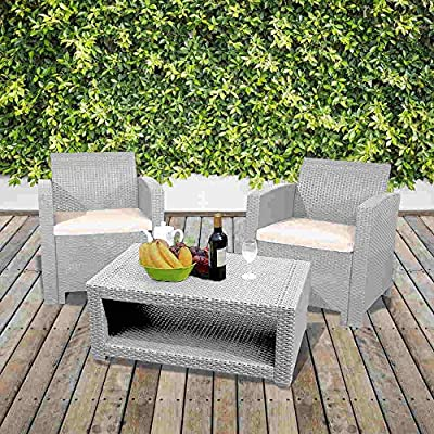 Marbella 2 Seater Rattan Armchair Bistro Set with Coffee Table