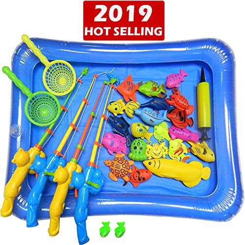 Carnival Fishing Game (NiGHT LiONS TECH 30 Pcs Bath Toys Set Beach Toy Magnetic Fishing Toys Waterproof Floating Fish Play Sets with Blue Pool - Learning Education Toy Set for)